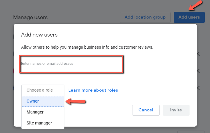 Add Agency ID as owner in Google My Business