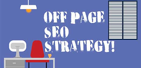 off page seo strategy text on graphic
