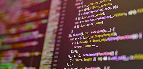 web page code on computer screen